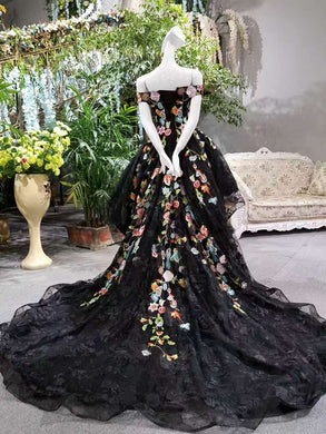 2019 Boat Neck High Low A-Line Black Prom Dresses Lace Up With Appliques