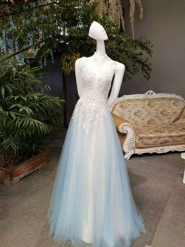 2019 New Arrival A-Line High Neck Tulle Prom Dresses Floor Length Lace Up