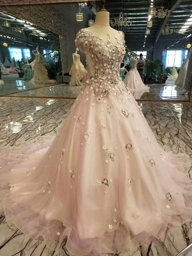 2019 Floral Scoop A-Line Prom Dresses Tulle Lace Up With Appliques And Beadings