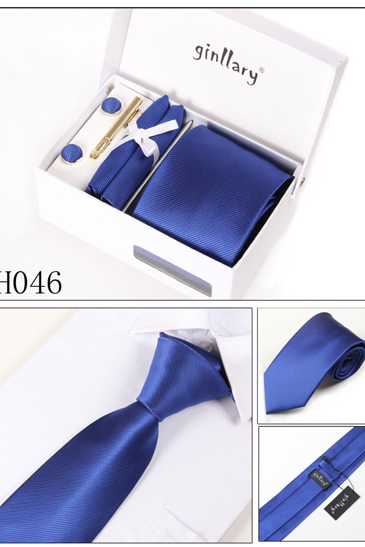 Dark Royal Blue Tie Set Cuff Links 4 Pieces Many Colors