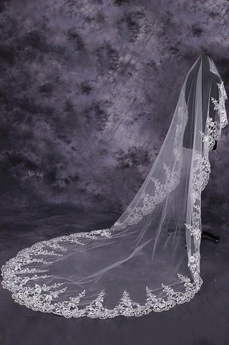 Gorgeous One-Tier Cathedral Bridal Veils With Applique