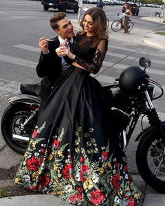 A line Two Piece Black Long Sleeve Prom Dress With Floral Print Skirt Evening Dresses RS672