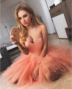 Peach Pink Strapless Sweetheart Homecoming Dresses Beaded Tulle Formal Dresses H1236
