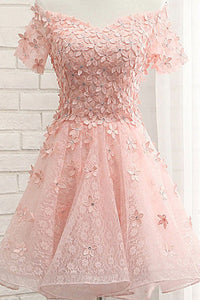 Pearl Pink Off the Shoulder Short Sleeves Lace Beading Appliques Short Homecoming Dresses H1153