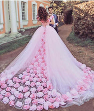 Load image into Gallery viewer, Pink Cathedral Off the Shoulder Ball Gown Vintage 3D Flower Applique Wedding Dresses RS379
