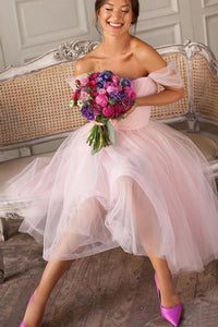 Pink Off the Shoulder Tulle Sweetheart Short Bridesmaid Dresses Homecoming Dresses H1258