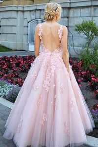 Pink Scoop Lace Appliques Prom Dresses with Tulle Open Back Beads Formal Dresses P1094