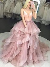 Load image into Gallery viewer, Pink Tulle Spaghetti Straps Ruffles Ball Gown Prom Dresses V Neck Long Evening Dresses P1081