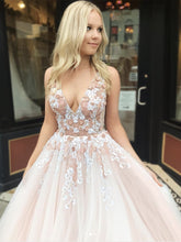 Load image into Gallery viewer, Pink Tulle V Neck Backless Appliques Long Prom Dresses Beads Cheap Party Dresses P1085