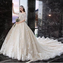 Load image into Gallery viewer, Princess Half Sleeve Ball Gown Wedding Dresses Appliques V Neck Bridal Dresses RS774