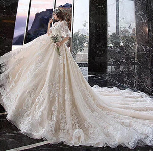 Princess Half Sleeve Ball Gown Wedding Dresses Appliques V Neck Bridal Dresses RS774
