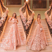 Load image into Gallery viewer, Princess Halter Backless Pink Lace Prom Dresses Two Piece Floral Formal Dress RS438