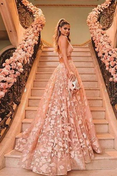 Princess Halter Backless Pink Lace Prom Dresses Two Piece Floral Formal Dress RS438