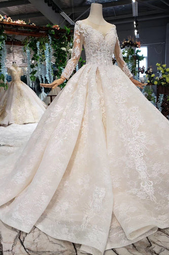 Princess Long Sleeve Beads Lace Appliques Ivory Prom Dresses Quinceanera Dresses P1070