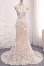 Load image into Gallery viewer, Princess Mermaid Lace Appliques Scoop Straps Ivory Wedding Dresses Bridal Dresses W1013