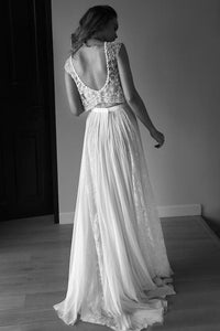 Princess Sleeveless Scoop Chiffon Beads Two Piece Wedding Dresses with Open Back RS582