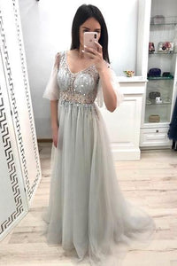 Princess V Neck Short Sleeve Gray Prom Dresses Long Tulle Party Dresses RS894