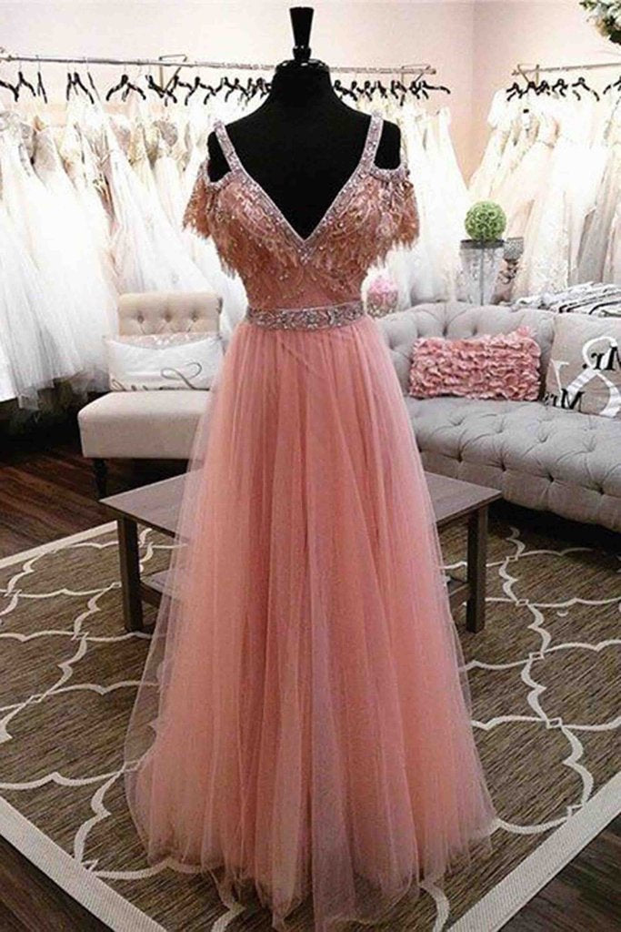 High Fashion A-Line V-Neck Off Shoulder Blush Pink Long Tulle Prom Dresses with Beads RS675