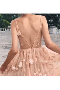 Elegant A Line Pink Backless High Low Spaghetti Straps Prom Homecoming Dress RS791