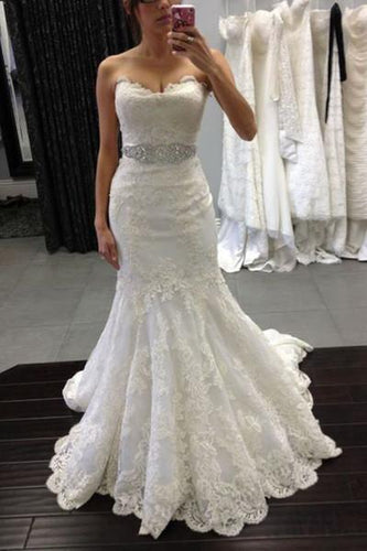 White lace sweetheart sequins mermaid floor length prom dress Wedding Dresses RS380