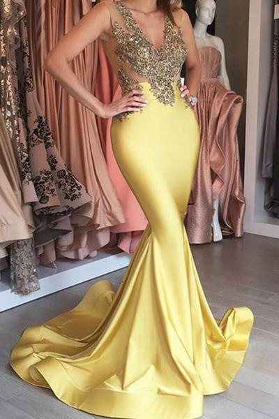 Yellow satins gold lace applique V-neck see-through slim-line long dress mermaid Evening dresses