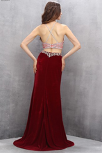 Load image into Gallery viewer, Sexy red chiffon two pieces see-through beading floor-length prom dresses