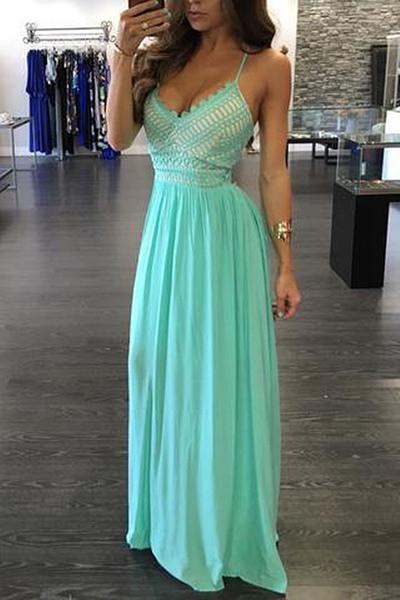 Green chiffon V-neck backless evening dress sexy summer dresses