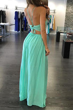 Load image into Gallery viewer, Green chiffon V-neck backless evening dress sexy summer dresses