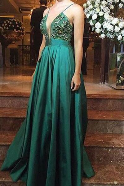 Luxury green satins deep V-neck sequins applique A-line long dress evening dresses