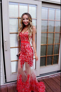 Sexy red lace sweetheart see-through mermaid long homecoming dress prom dress