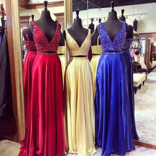 Load image into Gallery viewer, Luxury chiffon sequins V-neck two pieces prom dress evening dress RS810