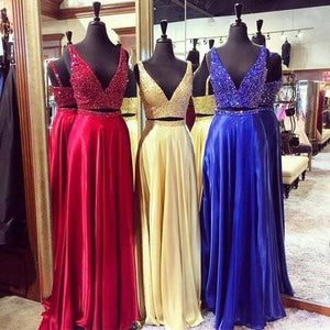 Luxury chiffon sequins V-neck two pieces prom dress evening dress RS810