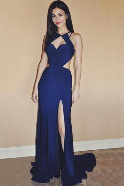 Sexy blue chiffon slit long backless evening dress long prom dress