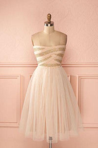 Pretty tulle sweetheart short dress,cute strapless dress for teens RS395