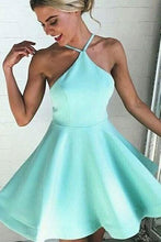 Load image into Gallery viewer, Mint satins backless A-line short dress mini party dresses RS396