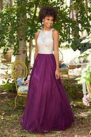 Purple Chiffon Round Neck Sequins Long Sleeveless Floor-Length Prom Dresses RS815