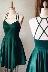 Green satins short dresses sexy open back mini party dresses RS394