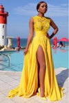 Sexy Elegant A line Yellow Chiffon Cap Sleeves Lace Evening Prom Dresses RS796