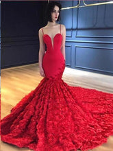 Load image into Gallery viewer, Red Mermaid Prom Dresses Spaghetti Straps V Neck Trumpet Rose Lace Evening Dresses P1044