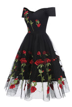 Load image into Gallery viewer, Retro Off the Shoulder V Neck Tulle Black Short Sleeve Party Dress with Red Flowers H1195