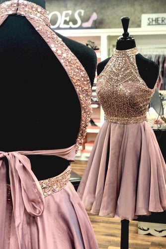 A Line Halter Open Back Chiffon Blush Pink Short Homecoming Dresses with Beading RS984