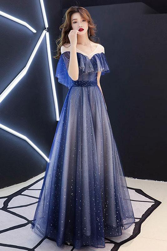 Romantic Scoop Lace up Prom Dresses Blue Floor Length Evening Dresses with Tulle P1052