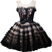 Load image into Gallery viewer, Round Neck Open Back Black and Pink Bowknot Lace up Homecoming Dresses with Tulle H1130