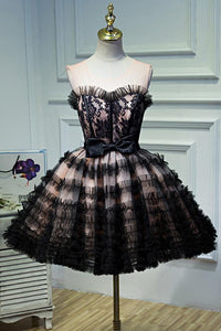Round Neck Open Back Black and Pink Bowknot Lace up Homecoming Dresses with Tulle H1130
