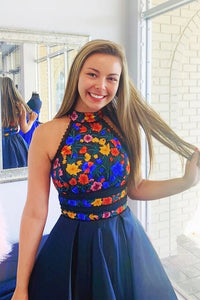 Royal Blue A-line Halter Floral Embroidery Short Homecoming Dress with Open Back H1200
