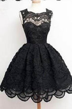 Load image into Gallery viewer, Knee-Length Black Elegant Homecoming Dress Homecoming Dress For Juniors And Teens PD0017