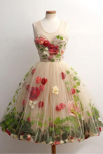 Load image into Gallery viewer, Cheap Tulle Flowers Short A-Line Knee Length Round Neck Open Back Homecoming Dress RS793