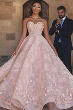 Load image into Gallery viewer, Princess Sexy A-Line Sweetheart Strapless Pink Beaded Lace Prom Dress with Appliques RS801