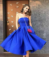 Royal Blue Satin Strapless Ball Gowns Tea Length Short Prom Dress Homecoming Dresses RS09