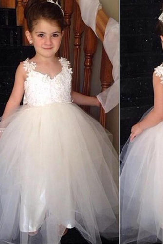 Ivory Sweetheart Lace Top Cute Tulle V Back Bowknot Flower Girl Dresses RS120